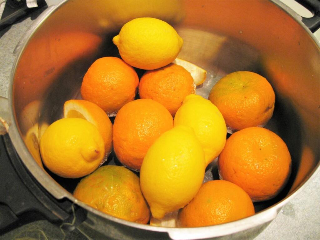 鍋の中のセヴィルオレンジとレモン