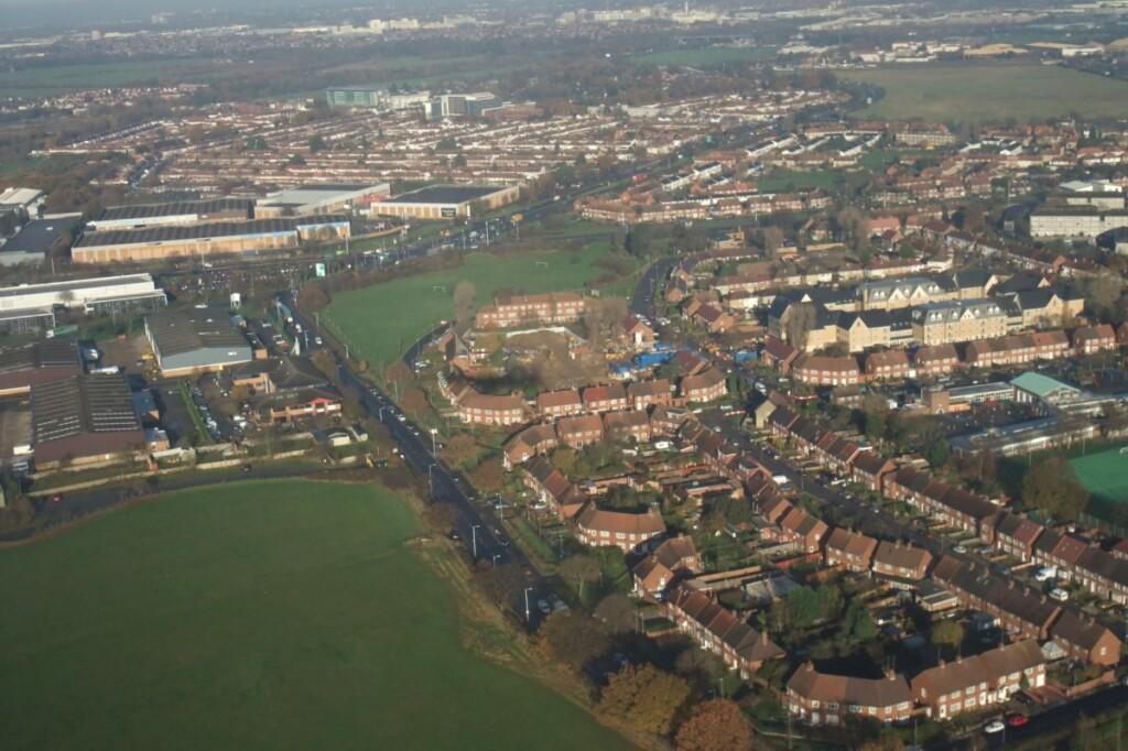 着陸前の空からのイギリスの風景