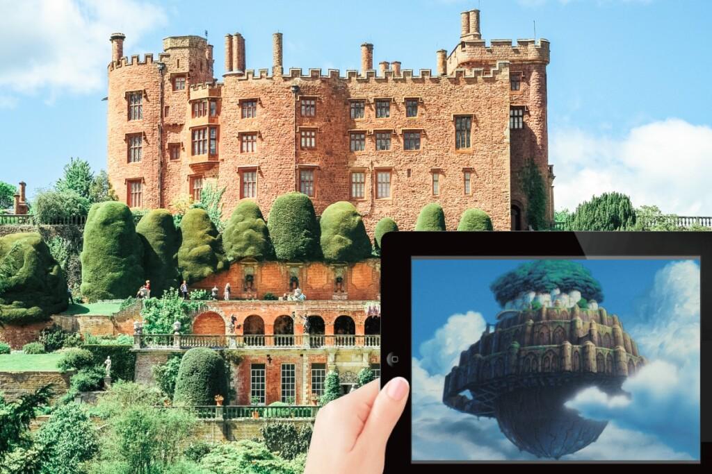 ポウィス城と天空の城ラピュタのシーン
